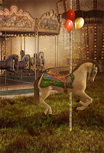 Yeele Circus Carousel Backdrop Victorian Carousel with Horses
