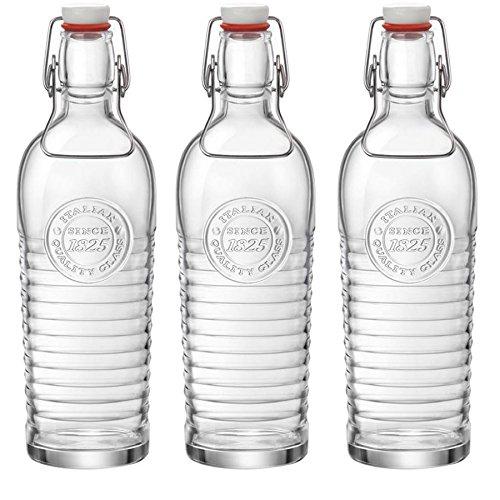 Bormioli Rocco Officina 1825 Vintage Botella de vidrio con tapa abatible - 1200ml - transparente - 3 unidades: Amazon.es: Hogar