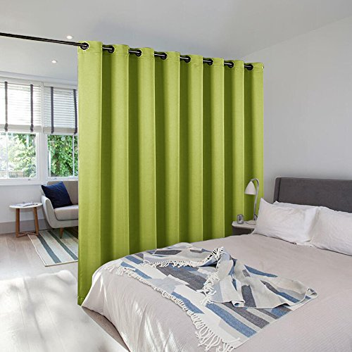 Room Dividers Curtains Screens Partitions - NICETOWNFull Length Grommet Top Room Screen Divider Curtain Panel For Space Solution (Single Pack, 8.3ft wide x 7ft long,Fresh Green)