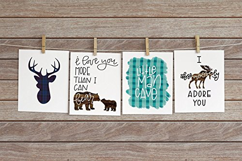 Four Piece Nursery Cardstock Prints 8.5 x11 Navy and Teal ''Woodland Animals'' by June & Lucy
