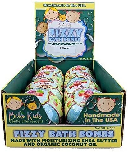 Bela Bath & Beauty, Bela Kids Fizzy Bath Bombs, Cupcake, With Moisturizing Shea Butter and Coconut Oil, 4.5 oz Each - Set of 8