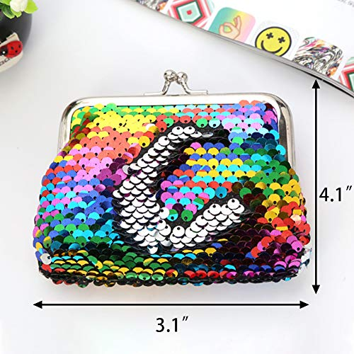 LovesTown Sequin Coin Purses,6 Pcs Reversible Magic Sequins Mini Wallets for Girl Diva Party Favors