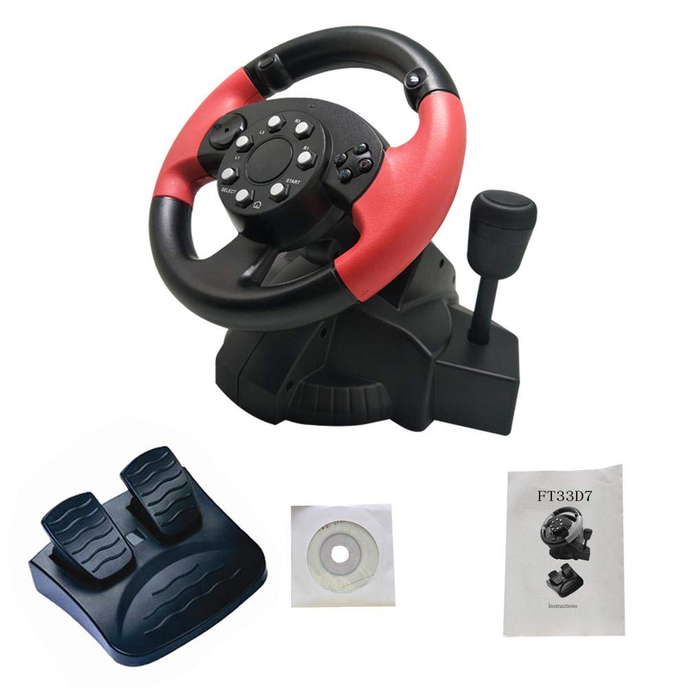 TODAYTOP for FT33 Series 200° Rotation Angle Game Steering Wheel Racing Wheel Dual Motor Vibration for PS 3/PS 2/PC (D-Input/X-Input/Steam