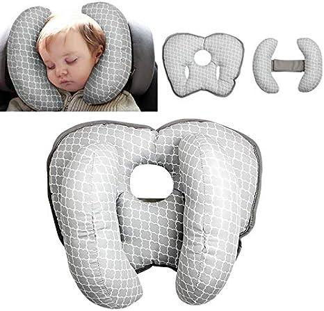 Almohada de viaje ajustable para bebé para silla de paseo o cama, 2 en 1 cochecitos de silla de paseo Soporte de cuello suave para 3 meses a 1 año Bebé (Grey 1)