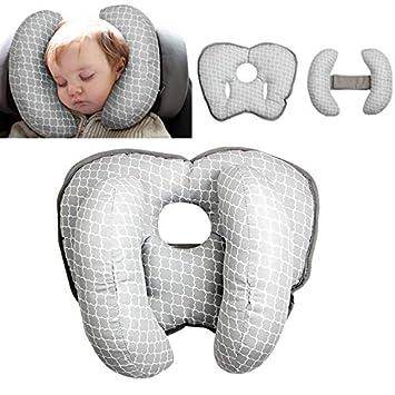 Babyreisekissen f/ür Kinderwagen oder Bett,2 in 1 Kinderwagen Kinderwagen Soft Head Neck Support Verstellbares Baby Travel Nackenkissen f/ür 3 Monate bis 1 Jahr Baby(Grey 1)