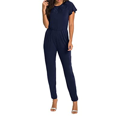 detailed look 070b1 3148e Damen Sommer Jumpsuit Lang Spitze Kurzarm Strand Overall ...
