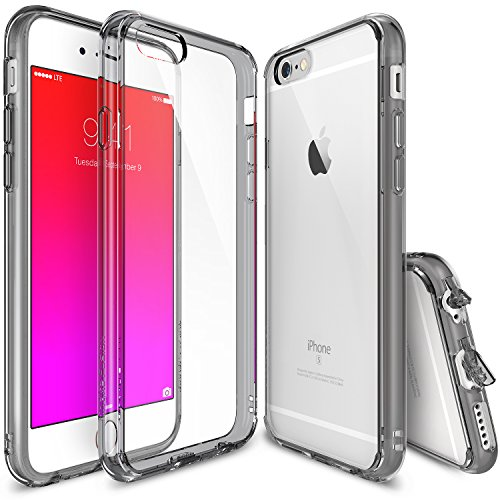Ringke Fusion Compatible with iPhone 6S Case, Clear PC Back & TPU bumper [Drop Protection] with Dust Caps for iPhone 6 - Smoke Black