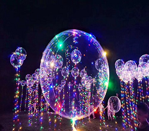 Christmas Party Balloons LED Lights Up 18 inch 3PCS BOBO Transparent Colorful Flash String Decorations City Wedding Home Courtyard Kids Helium Birthday Party Set Bulk Pack Glow