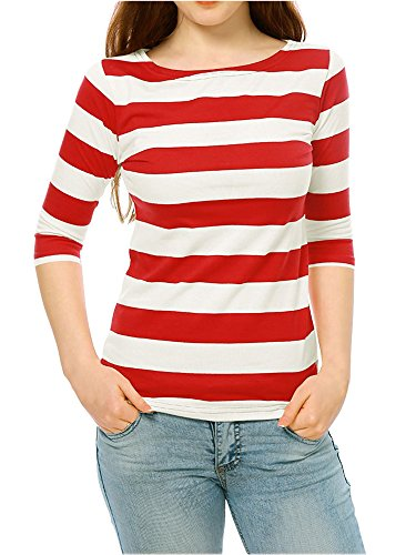 Luckco Women's 3/5 Sleeve Boat Neck Striped T-Shirt Relax Fit Casual Tops X-Large Red