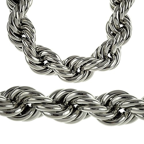 Heavy 25MM Silver Tone Thick Hollow Rope 36 Inch Long Necklace Hip Hop Dookie Bling Men's -