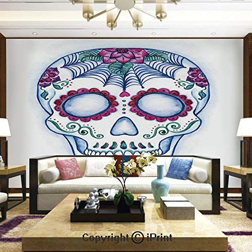 Lionpapa_mural Removable Wall Mural Ideal to Decorate Your Living Room,Day of The Dead Colorful Skull with Floral Ornament Hand Drawn Doodle Decorative,Home Decor - 66x96 inches -