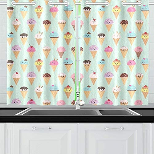 AIKENING Summer Pattern with Kawaii Ice Cream Cones Kitchen Curtains Window Curtain Tiers for Caf , Bath, Laundry, Living Room Bedroom 26 X 39 Inch 2 Pieces