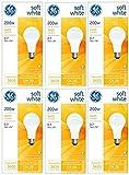 GE 11585-4 A21 Incandescent Soft White Light Bulb, 200-Watt, 6-Pack