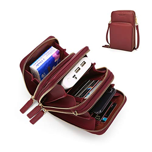 (Small Leather Crossbody Phone Bags for Women with Card Slots, 6.5