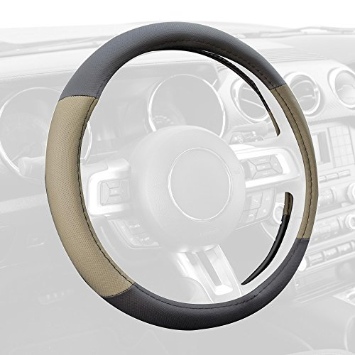 BDK W603BG Two Tone Perforated PU Leather Steering Wheel Cover for Car Van SUV Truck - Tan Beige - Standard Size 14.5 to 15.5 inch