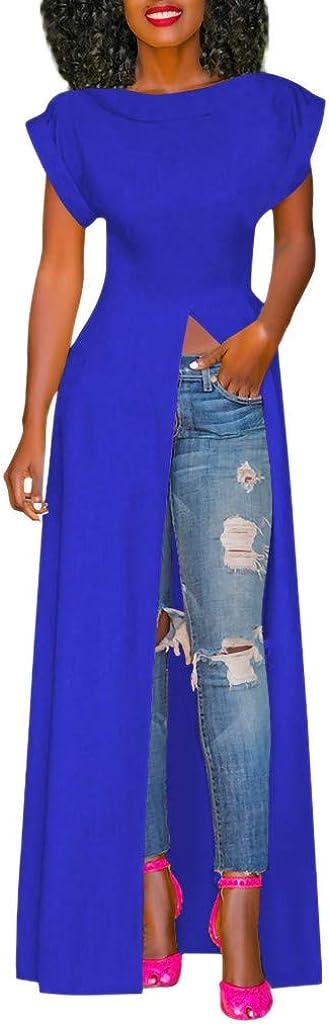 Women/'s Tunic Dress High Low Hem Irregular Maxi Dress Short Sleeve Front Split Tunic Tops for Leggings