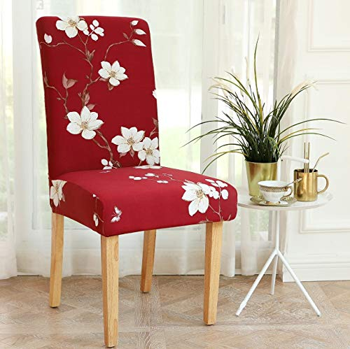 Lukzer 1PC Polyester Floral Elastic Chair Cover (Maroon/Flower Design) Stretchable Removable and Washable Dining Chair…
