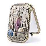 Nerien Women's Magnifying Vintage Foldable Metal Vanity Mirror Princess Style Hollow Castle Design Cosmetic Purse Mirror Portable Travel Mirror Bronze