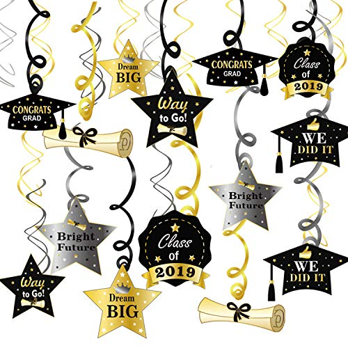 Konsait Graduation Hanging Decorations Swirls(30Pack), Graduation Party Supplies 2019| Graduation Wishes| Mortarboards| Diplomas Hanging Ceiling Graduation Accessories for School Prom Grad Party -