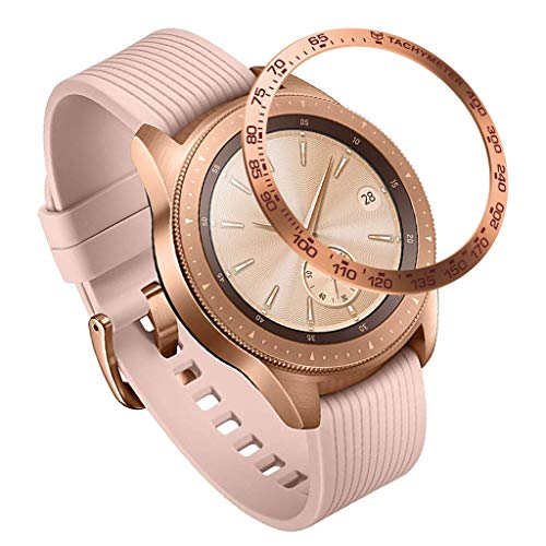 Cywulin for Samsung Galaxy Watch 42mm Gear Sport Styling Bezel Ring Adhesive Cover Stainless Steel Metal Tachymeter Anti Prevent Scratch Sport Watch Protection Accessory (Rose Gold)
