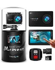 VanTop 4K Action Cam Moment  mit Touchscreen, 20MP WiFi Ultra HD Helmkamera 30m Unterwasserkamera, 2 Batterien und Zubehöre