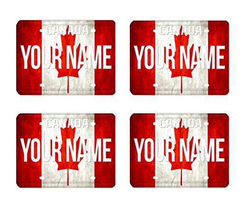 BleuReign Personalized Custom Name License Canada Flag Country Plate Set of 4 Square Beverage - Coaster Flag Canada