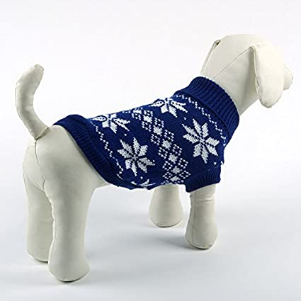 Amazon Pesco Blue Maple Leaves Pattern Knitted Dog Sweater
