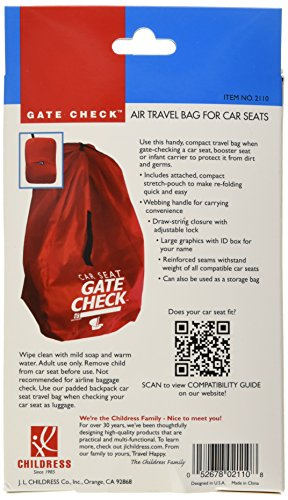 Large Product Image of JL Childress Gate Check Bag for Car Seats, Red