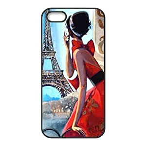 @ALL Eiffel Tower Paris and Lady Cover Case For Iphone 6 (4.7inch)(Black) with Best Silicon Rubber