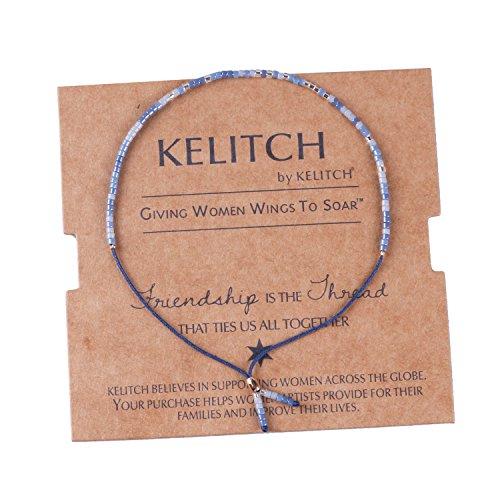 KELITCH Blue Agate Mix Seed Beaded Bracelets Handmade Friendship New Jewelry Bangles (Blue)