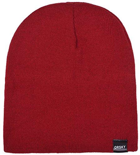 Red Hat Knit Dark (ORSKY Men's Skull Caps Knit Beanie Hat Dark Red)