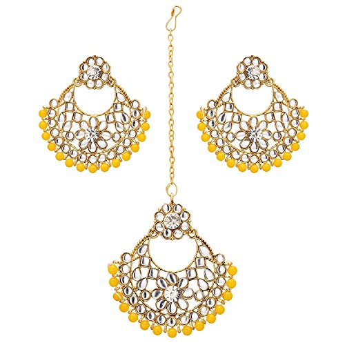 - Jwellmart Women's Indian Bridal Collection Kundan Stone Pearl Maang Tikka Earring Set (Yellow)