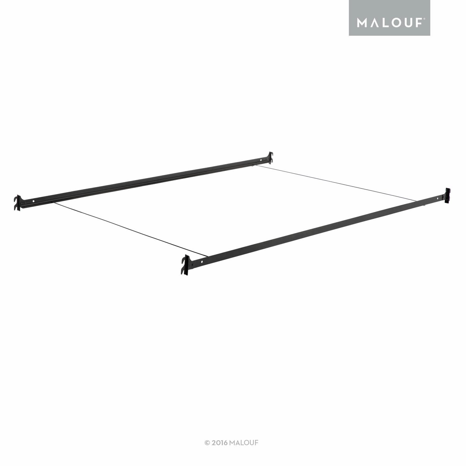 MALOUF Structures Hook-in Metal Bed Rail System with Cross Wires - Twin/Full by MALOUF