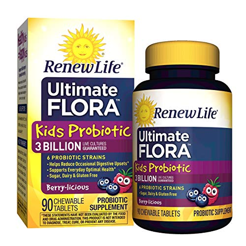 Cheap Renew Life Ultimate Flora Kids Probiotic Chewable Tablets, Berry, 90 Count