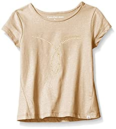 Calvin Klein Big Girls\' Studded Omega Trapeze Tee, Champagne, M8/10