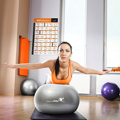 Exercise Ball Poster – Total Body Workout – Your Personal Trainer Fitness Program for Women – Swiss, Yoga, Balance & Stability Ball Home Gym Poster – Tone Your Core, Abs, Legs Gluts & Upper Body – Motivational Work Out Improves Your Training Routine – 20″x30″