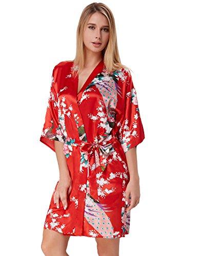Silk Kimono Dress (Kimonos for Women Robe Silky Lightweight Peacock Design Red Size M ZE53-3)