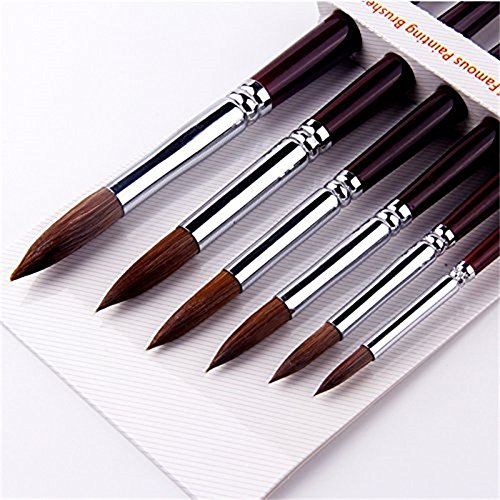 (6pcs Round Point Tip Paint Brush Set  Sable Hair Artist Quality Art Painting Brush)