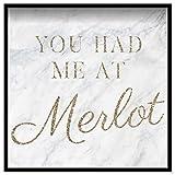 "The Oliver Gal Artist Co. Me tenías en Merlot 'Contemporary Framed Wall Art Print para decoración del hogar, 50 ""x 50"", Blanco"