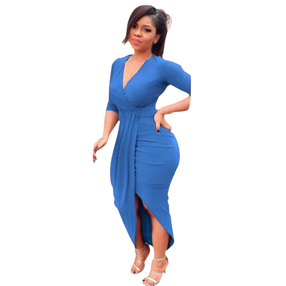 Amazon.com  Women Casual Long Sleeve Party Dress Sexy V-Neck Solid High  Waist Side Slit Bodycon Evening Maxi Dress  Clothing 1e314f27ae0e