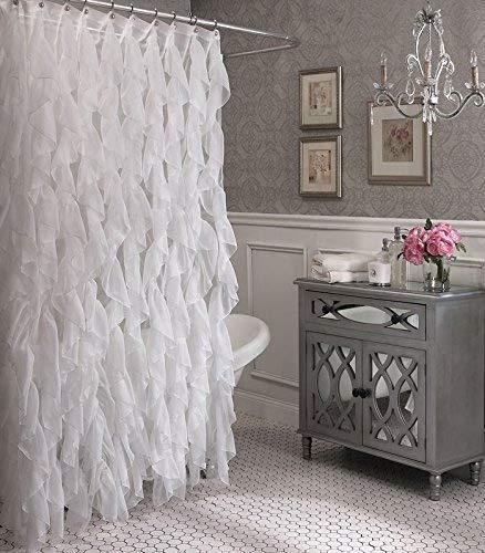 Cascade Shabby Chic Ruffled Sheer Shower Curtain White Showe