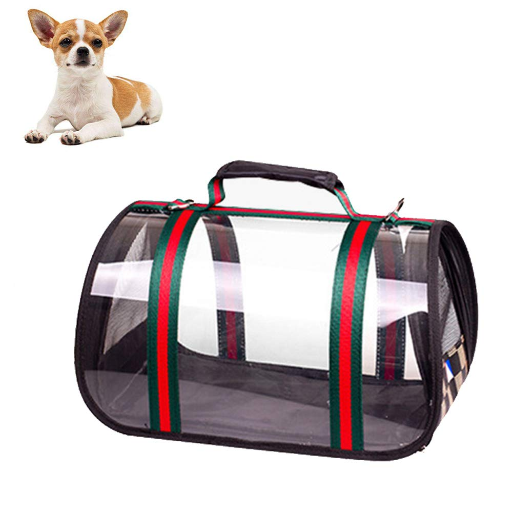 Red Small Red Small Transparent Pet Carrier, for Puppies, Collapsible Breathable,Red,S