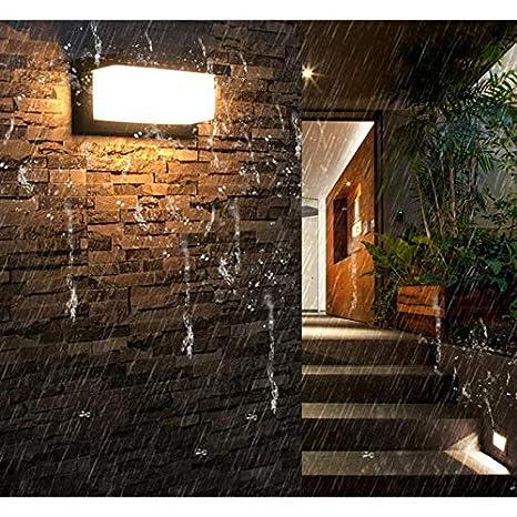 blanco c/álido 3000K HAOFU 10W LED Apliques de Pared,Lamparas de Pared,impermeable IP65 Universal para Decoraci/ón de Casa Jard/ín de Lluminaci/ón de Exterior y Lluminaci/ón de Interior Negro-01