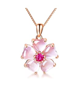 YOUMIYA Rose Gold Cherry Blossoms Necklace for Graduation Pink Beautiful Artificial Stone Crystal Necklace Best Gifts for Women Friend Lover