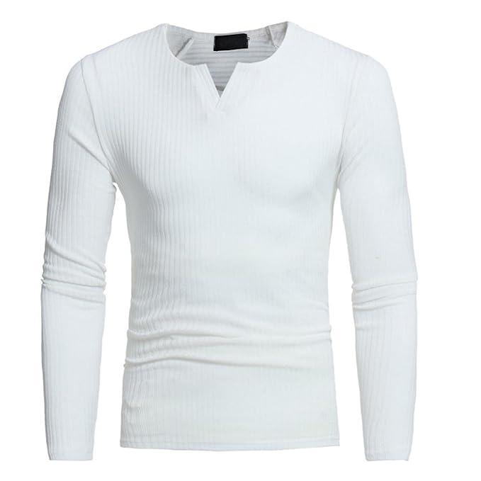 Camiseta Manga Larga para Hombre,Otoño Invierno Casual v-Cuello Slim Suéter Tops Blusa