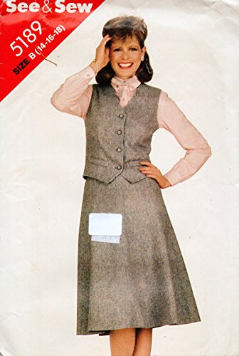 Butterick 5189 Sewing Pattern for Misses 14-16-18 Welt Pocket Lined Button Vest & Eight Gore Back Zip Waistband Skirt