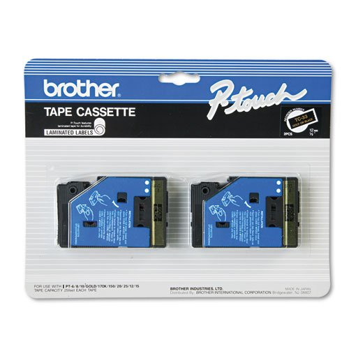 Brother P-Touch - TC Tape Cartridges for P-Touch Labelers, 1/2w, Gold on Black, 2/Pack TC-33 (DMi PK