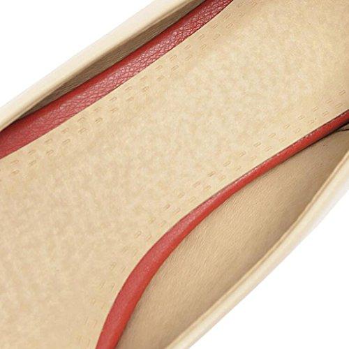 Medio Beige Scarpe Superficiale cm da Pendenza 3 Appuntita Morbido Testa Gomma Suola Donna in PU Primavera Bocca Tacco pqP6TT