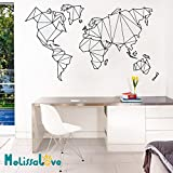 Melissalove Map of The World Vinyl Wall Decal Home Decor Living Room Geometric Removable Abstract World Map Wall Sticker For Bedroom ZB262 (Black)