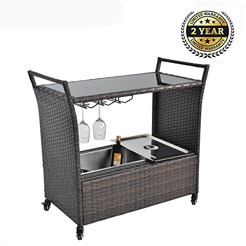 Outdoor Indoor Rattan Wheeled Serving Cart Patio Wicker Bar Cart, Ice Bucket, Wine Rack-Brown